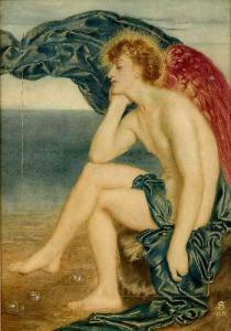 Love Dreaming By The Sea, Simeon Solomon, Watercolour, 1871
