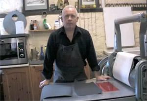Andrew Baldwin at etching press