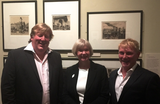 Robert Meyrick, April McMahon (Vice Chancellor) and Harry Heuser at the private view