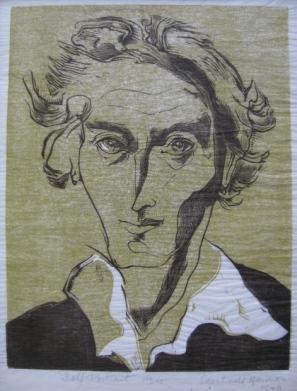 Gertrude Hermes, self portrait, linocut