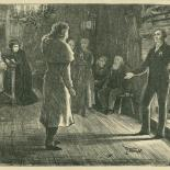 Far From the Madding Crowd: 'Troy next advanced into the middle of the room, took off his cap --', illustration from chapter 53 of Thomas Hardy's 'Far from the Madding Crowd', Cornhill Magazine Vol.30, 1874, wood engraving mounted on grey card
