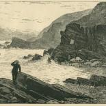 Far From the Madding Crowd: 'He saw a bather carried along in the current', illustration from chapter 48 of Thomas Hardy's 'Far from the Madding Crowd', Cornhill Magazine Vol.30, 1874, wood engraving mounted on grey card