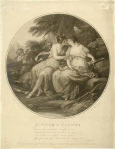 Jupiter and Calista, Angelica Kauffman, 1782, engraving in black on white laid paper