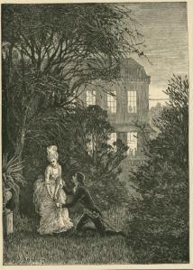 Miss Angel, Cornhill Magazine Vol. 31, 1875, Helen Allingham, wood engraving mounted on grey card