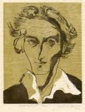 Self Portrait, Gertrude Hermes, 1949, colour linocut on laid tissue paper