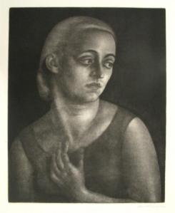 Southern Blonde, Dame Laura Knight, c. 1920-50, mezzotint in black on cream laid paper