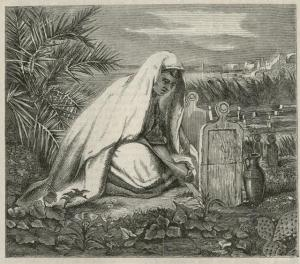 The Moorish Girl at her Father's Grave, Eliza Florance Bridell-Fox, 1866, Once a Week. N.S. Vol.2, wood engraving mounted on grey card