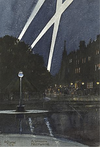 Fig.4 A London Nocturne, Edward J. Burrow, watercolour, 1918.