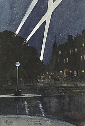 Fig.4 A London Nocturne, Edward J. Burrow, watercolour, 1918.