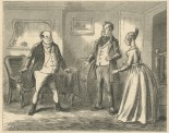 """""""Mr. Pickwick no sooner put on his spectacles, than he at once recognised in the future Mrs. Magnus the lady into whose room he had so unwarrantably intruded on the previous night."""""""