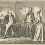 """Mr. Pickwick no sooner put on his spectacles, than he at once recognised in the future Mrs. Magnus the lady into whose room he had so unwarrantably intruded on the previous night."""
