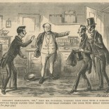 """""""I say insolent familiarity, Sir,"""" said Mr. Pickwick, turning upon Fogg with a fierceness of gesture which caused that person to retreat towards the door with great expedition."""""""