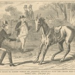 """The horse no sooner beheld Mr. Pickwick advancing with the chaise whip in his hand."""