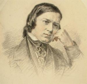 Robert Schumann, Wilhelm Kümpel, ca. 1860-70, charcoal and black, red and white chalk on buff paper, mounted on white card
