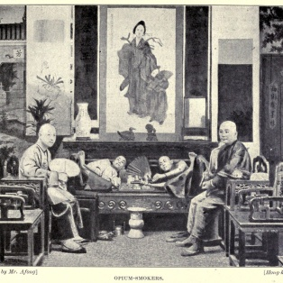 Opium smokers by Lai Afong (1839-90), China