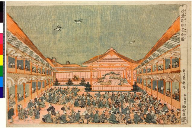Uki-e no kyogen no zu 浮絵能狂言之図 (Perspective Picture of a No Performance) ©Trustees of the British Museum