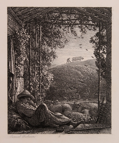 samuel palmer rws the sleeping shepherd early morning 1857 etching on chine colle