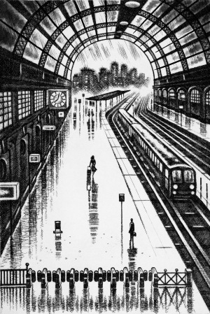 Coastal Trains - Victoria Station, etching 38 x 25 cm (15 x 10 inch)