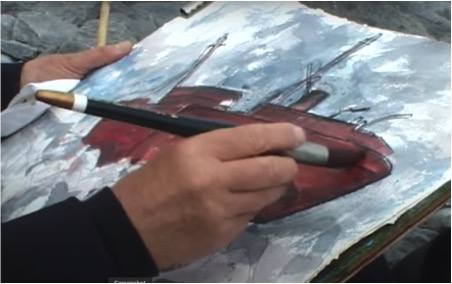Figure 1, Rigby Graham painting The Plassey from the film 'Irish Voyage' 2001 Image courtesy of Goldmark Gallery