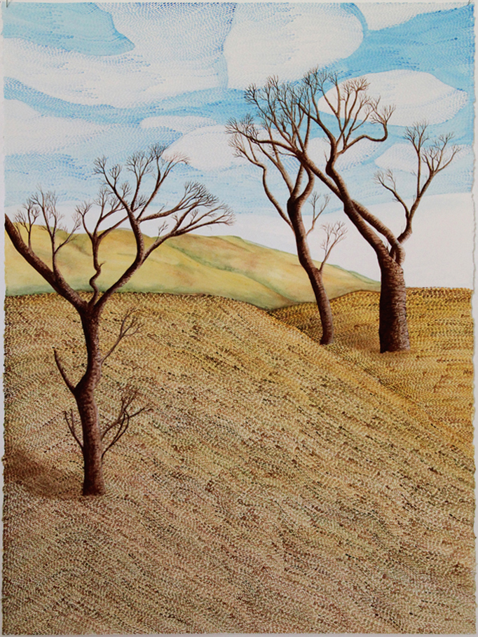 Hilly landscape. Field with one bare tree on the left and two intertwined trees on the right. Blue skies with clouds.
