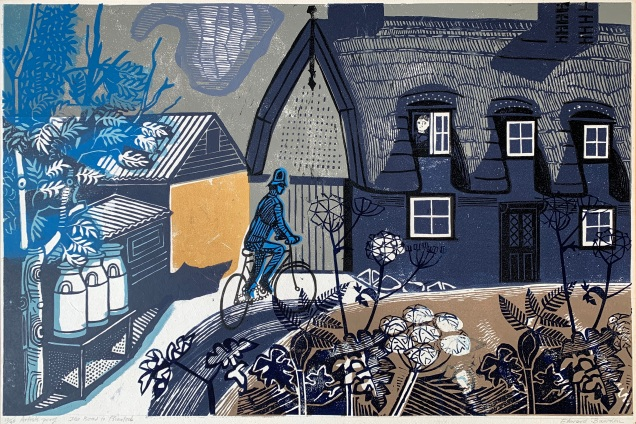 Print of a policeman cycling towards a thatched house called Road to Thaxted by Edward Bawden